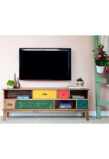 Rack Para Tv De 55 Polegadas Colors Madeira Maciça 5 Gv Mel Verniz E Colorido