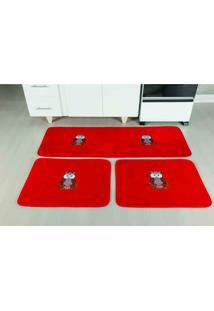 Tapete Antiderrapante Cozinha Coruja Vermelho Guga Tapetes