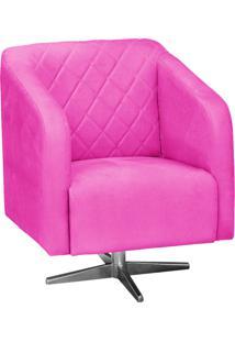 Poltrona Decorativa D'Rossi Silmara Suede Pink Com Base Giratória Em Aço Cromado