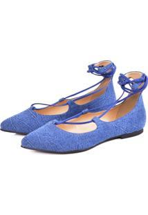 Sapatilha Agatha Amarração Jeans Azul