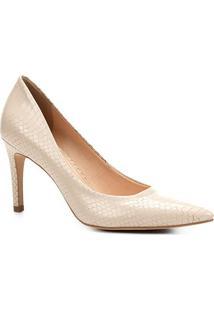 Scarpin Couro Shoestock Salto Alto Cobra - Feminino-Off White