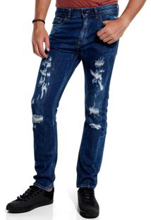 Calça John John Slim Honolulu 3D Jeans Azul Masculina (Jeans Escuro, 38)