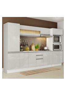 Cozinha Completa 100% Mdf Madesa Smart 300 Cm Modulada Com Armário, Balcão E Tampo Frentes Branco Brilho Branco