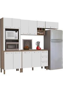 Cozinha Modulada Ametista 5 Módulos Composição 5 Nogal/Branco - Kit'S