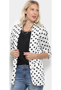 Blazer Lily Fashion Estampa Poá Feminino - Feminino-Branco
