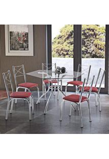 Conjunto De Mesa Com 6 Cadeiras Hilux Móveis Brastubo Cromado/Vermelho