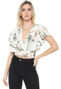Blusa Cropped Dimy Babado Off-White