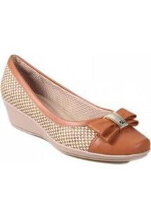 Sapato Piccadilly Anabela Tecido Feminino - Feminino-Areia