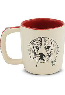 Caneca Pet-Beagle 350Ml -Mondoceram - Creme