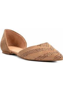 Sapatilha Shoestock Bico Fino Hot Fix Feminina - Feminino-Caramelo