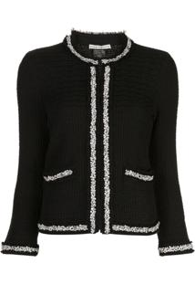 Alice+Olivia Georgia Faux-Pearl Trim Knit Jacket - Preto
