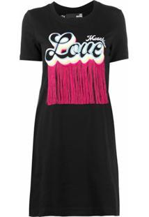 Love Moschino Vestido Com Decote Careca E Logo - Preto