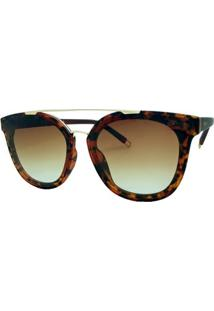Óculos De Sol Fashion Tartaruga Garnet Feminino - Feminino-Marrom