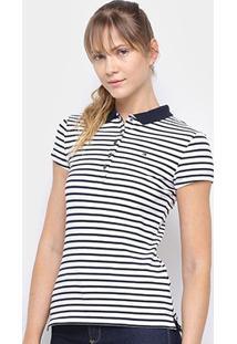 Camisa Polo Tommy Hilfiger Listrada Feminina - Feminino-Marinho+Branco