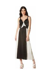 Vestido Midi Decote V Compose De Tecidos Preto/Branco M