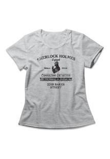 Camiseta Feminina Sherlock Holmes Cinza