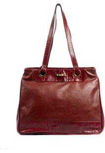 Bolsa Couro Original Feminina Couribi Estruturada Com Repartições Vermelho Bordô