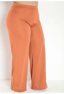 Calça Caramelo Pantalona Com Elástico Plus Size