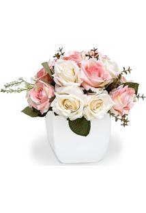 Arranjo De Flores Artificiais Felicitadecor Rosas Mistas Cachepot Quadrado Branco 20X20Cm