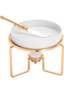 Rechaud Rojemac De Porcelana P/ Queijo C/ Faca E Suporte De Aço Rose Branco/Dourado