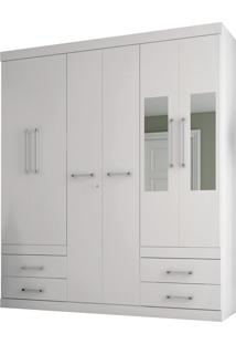 Guarda Roupa Santos Andirá Havana Plus 6 Portas Com Espelho Branco