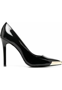 Versace Jeans Couture Scarpin Bico Fino Com Recorte Vazado - Preto