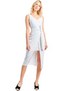 Vestido Mx Fashion Com Recorte Mirella Off White