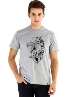 Camiseta Ouroboros Manga Curta Dracarys - Masculino-Cinza