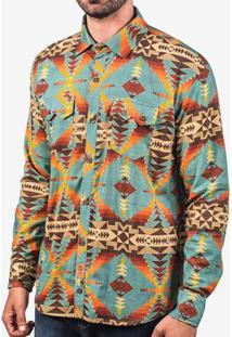 Camisa Linho Etnica Azul 200411
