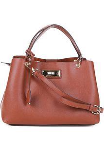 Bolsa Santa Lolla Handbag Placa Alça Fivela Chaveiro Feminina - Feminino-Caramelo