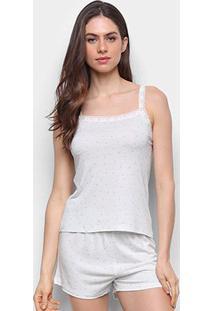 Pijama Curto Hering Corações Feminino - Feminino-Off White