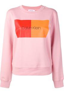 Calvin Klein Blusa De Moletom Com Logo - Rosa