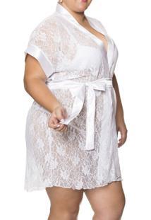 Robe Curto Renda Brupi (7704) Plus Size, Branco, 48