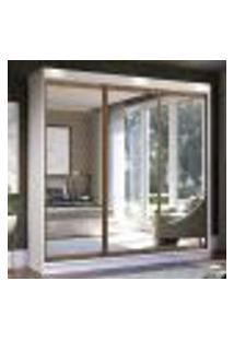 Guarda-Roupa Casal Madesa Istambul 3 Portas De Correr De Espelho 3 Gavetas - Branco/Rustic