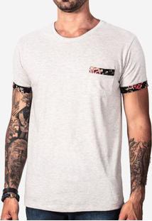 Camiseta Mescla Claro Detalhe Floral 100075