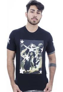 Camiseta Hardivision Lady Of Stars Manga Curta - Masculino-Preto