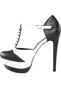 Sandália Meia Pata Week Shoes Preto Bico Fechado Com Spikes