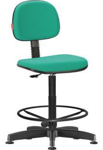 Cadeira Caixa Alta Secretária Giratória Crepe Verde Médio