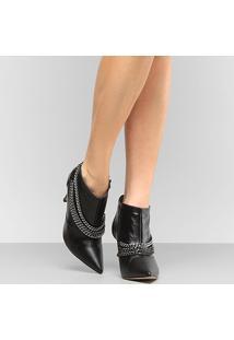 Ankle Boot Couro Shoestock Salto Fino Correntes - Feminino