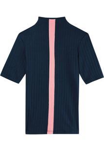 Blusa Azul Marinho Canelada Com Recorte
