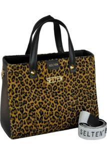 Bolsa Handbag Animal Print Zíper Moderna Feminina - Feminino-Preto+Amarelo
