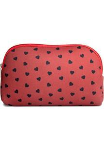 Necessaire Em Neoprene Tritengo Mini Corações Red - Feminino-Vermelho Escuro