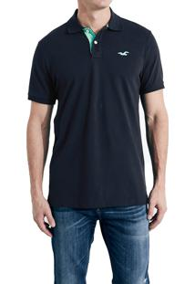 Polo Hollister Masculina Epic Flex Stretch Azul Marinho