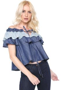 Blusa Jeans Lança Perfume Babados Azul