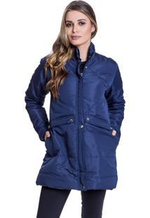 Jaqueta Sobretudo Acolchoada Carbella Inverno Detalhe Costuras Azul Marinho