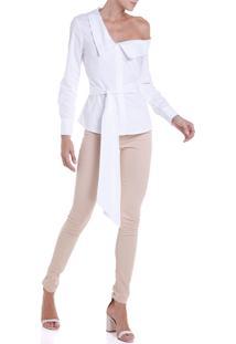 Camisa Feminina Tricoline Gola Assimétrica (Branco, 42)