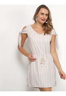 Vestido Lily Fashion Open Shoulder Listrado Amarração - Feminino-Bege