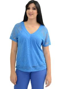 Blusa Energia Fashion Devoré Azul