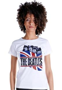 Camiseta Bandup Bandas The Beatles England Flag Branco