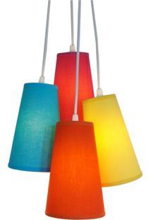Lustre Pendente Luminária 4 Cúpulas Tecido Pink, Azul, Amarelo E Laranja